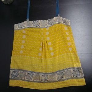 Joie Bashful Silk Printed Tank Citrus Yellow Blue